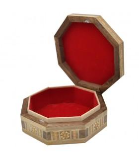 Octagonal Syrup Taracea Box - Decorated Geometric Cover- 15.5 cm