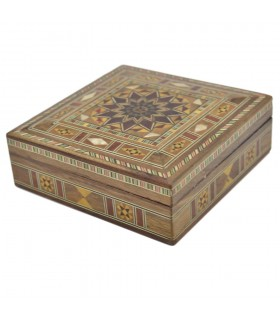 Caja Taracea Cuadrada Siria - Tapa Estrella 12 Puntas - 13 cm