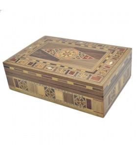 Caja Taracea Rectangular Siria - Tapa Diseño Rombo -  22 cm
