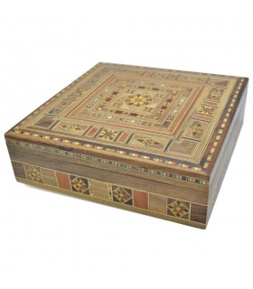 Square Syria Taracea Box - Wood and Nacre Decoration - 19.5 cm