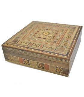 Caja Taracea Siria Cuadrada - Decoracion Madera y Nacar - 19.5 cm