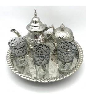 Juego de Té Arabe- Tetera - Bandeja Patas - 3 Vasos - Azucarero