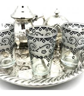 Arabisch - Teekanne-Tee-Set - Tray Beine - 3 Gläser - Zucker