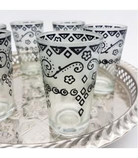 Juego 6 Vasos de Té Grabados - Relieve Diseño Floral- Modelo ZAHARA