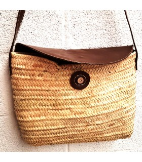 Handbag of Palmito and Leather - 100% Leather and Palmito - Model PALMA
