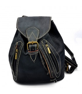 Leather Backpack - 4 Pockets - 100% Leather - Model SAGUIR