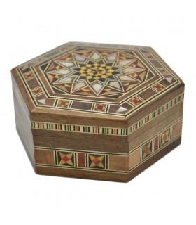 Caja Árabe Taracea Siria  Hexagonal - Tapa Estrella 12 Puntas - 11 cm