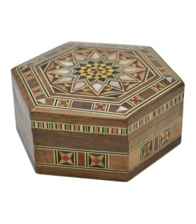 Arab Box Taracea Siria Hexagonal - Star Cap 12 Tips - 11 cm