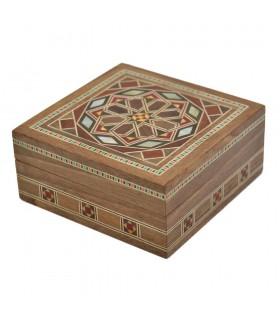 Syria Square Taracea Box - Grenadian Star Cover - 8.5 cm