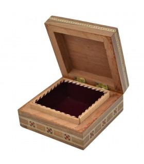 Caja Taracea Cuadrada Siria - Tapa Estrella Granadina - 8.5 cm