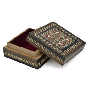 Caja Taracea Árabe Cuadrada Siria - Tapa Decorada  - 7,5 cm