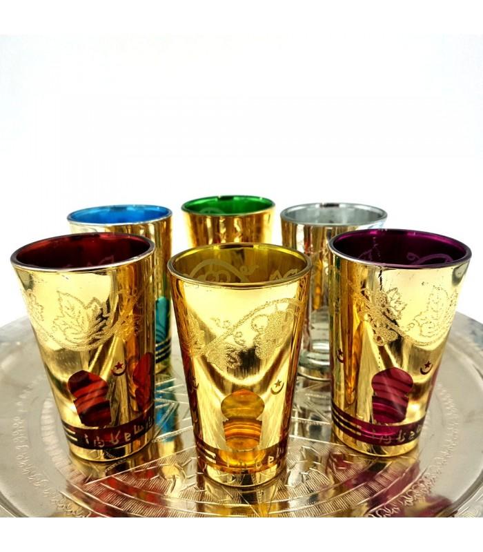Juego 6 Vasos - Ventana Arabe - Varios Colores