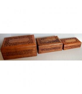Juego 3 Cajas de Madera  - Granada - Terciopelo