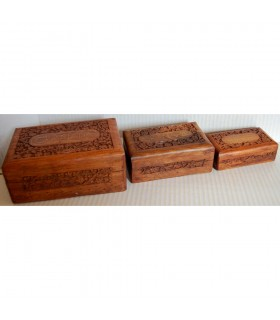 Juego 3 Cajas de Madera  - Granada - Guardacartas - Terciopelo