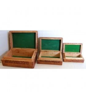 Jeu de 3 boîtes de bois - Granada - Guardacartas - velours