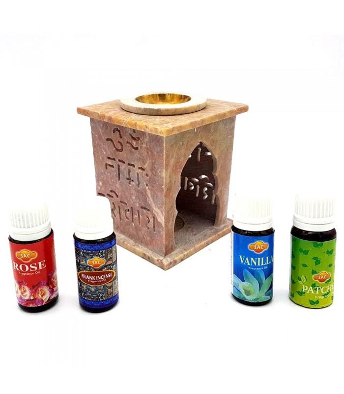 Pack Quemador Esencias piedra Tallada + 4 Aceites Aromaticos - SAC