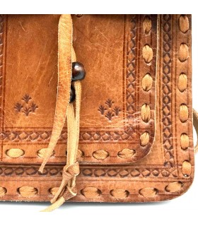 Agadez Leather Pocket Bag - 2 Pockets - Embossed Leather