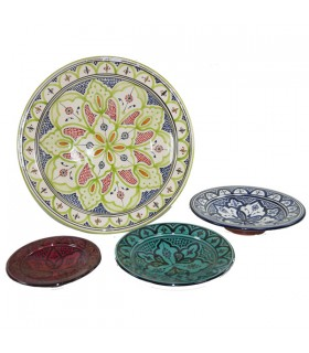 SAFI Ceramic Plate - Colored Glasses - Hand Painted - 5 Sizes