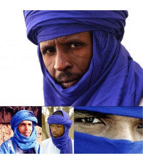 Sciarpa di cotone Tuareg - Blu marino in 2 toni - Qualità - 220 cm