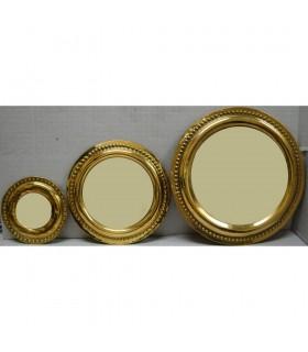 Jogo 3 espelhos de bronze redonda
