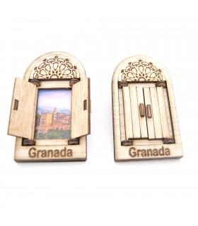 Ventanita Árabe con puerta Imán Nevera - Diseño Alhambra - Souvenir