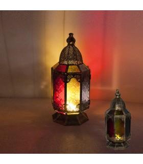 Фонарь свеча - восьмиугольная - арабских проект средний - многоцветный