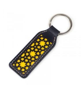 Chaveiro de corte de couro - preto e amarelo