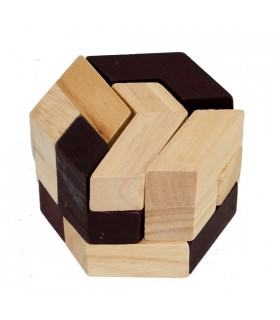 Juego Puzzle Hexagono Colores  -Ingenio - Rompecabezas - 7x7 cm