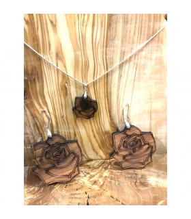 Pendant and Rose Earrings Set - Olive Wood with Silver