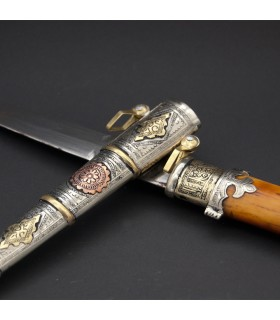 Arab Dagger Deluxe Tamasikh - Bronze Alpaca and Brass - 32 cm