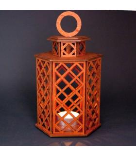 Lanterna Geométrica de Madeira - Modelo Sajara - 19 cm