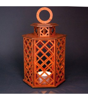 Geometric Wood Lantern - Sajara Model - 19 cm