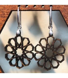 Brincos de madeira verde-oliva com prata - Alhambra Design