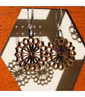Brincos de madeira de oliveira com prata - Najma Design
