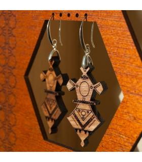 Pendientes Tuareg - Diseño Agadez - Madera Olivo y Plata