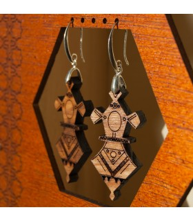 Tuareg Earrings - Agadez Design - Olive Wood and Silver