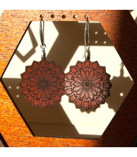 Engraved Leather Earrings - Silver Crimp - Generalife Model