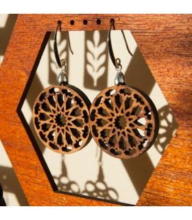 Brincos de madeira de oliveira com prata - Alhambra Dair Design