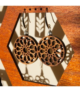 Olive Wood Earrings with Silver - Alhambra Dair Design