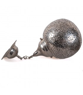 Lámpara Esfera Deluxe Latón Calado Bañado en Níquel - 25 cm Diámetro