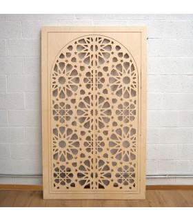 Porta de treliça árabe de madeira - 200 x 120 cm - Modelo Samai