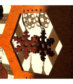 Brincos em couro gravado - Silver Crimp - Modelo Celch