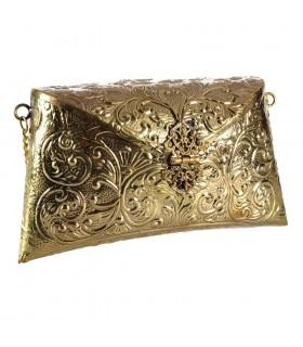 Ottone del sacchetto - rilievo floreale - a mano - fatto catena e chiusura