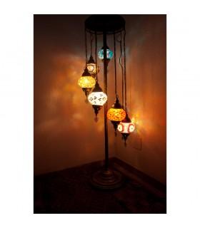 Lámpara Turca 7 Bolas - Suelo - Altura 110 cm - Cristal Murano - Mosáico
