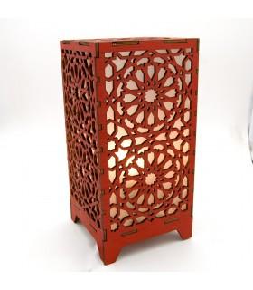 Lámpara de Madera Alkauzar Roja - Diseño Mosáico Alhambra