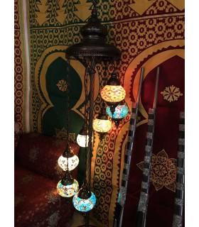 Turkish Lamp 7 Balls - Floor - Height 110 cm - Murano Glass - Mosaic