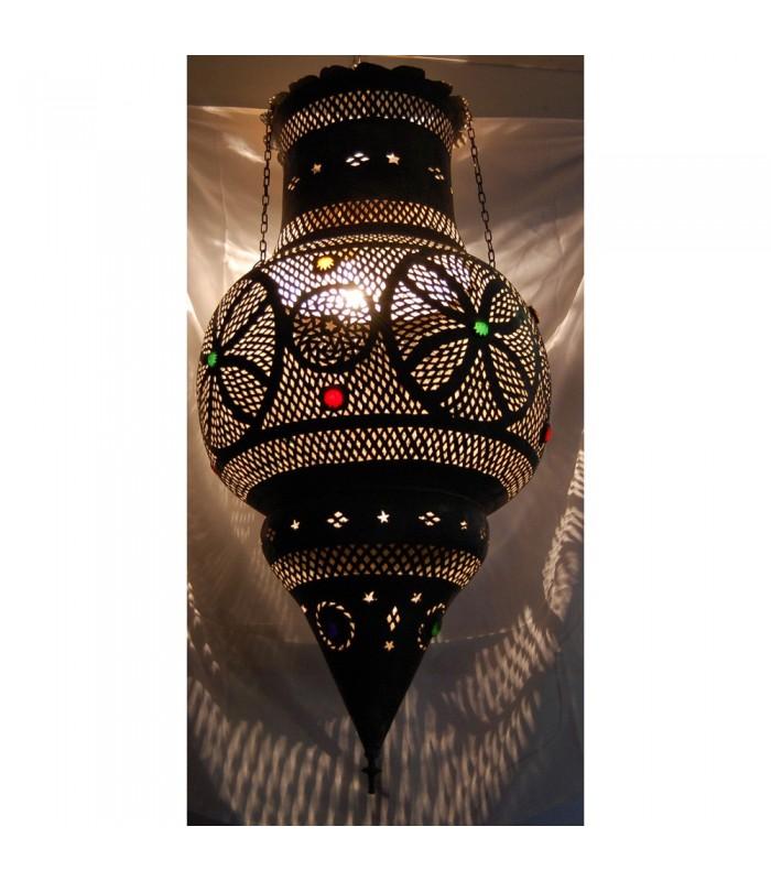 Lámpara Andalusi Gigante - Cobre Antiguo - Cristal Colores - 1m.
