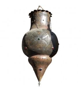 Andalusische riesige Lampe - Kupfer antik - Glas Farben - 1 m.