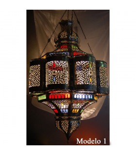 Lamp Andalusian giant Emerald - glass colors - 110 cm.