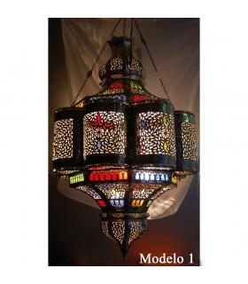 Lâmpada andaluz gigante Esmeralda - cores de vidro - 110 cm.